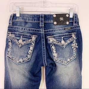 MISS ME | Rhinestone Embroidered Boot Cut Jeans 25